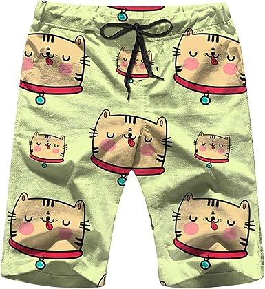 Funny Cartoon Cat Mens Swim Trunks Quick Dry Beach Board Shorts with Drawstring Pocket