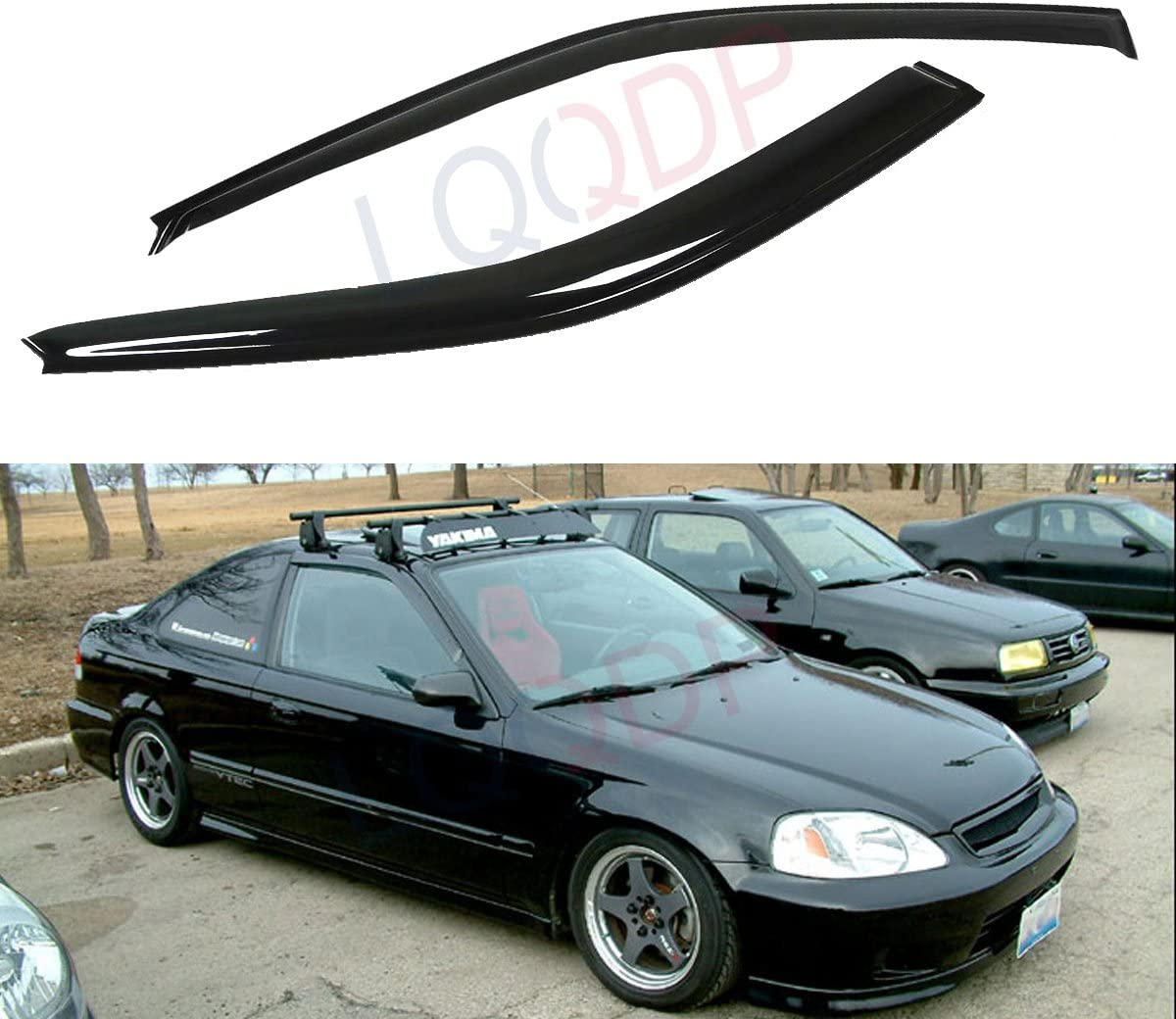 For Honda Civic Coupe 96-00 Window Visor Sun Guard Outside Mount Light Grey 2pcs