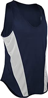 product image for TR-522-CB Men's Performance Sprint Single Ply Lightweight Singlet with Panels (Medium, Navy/White)