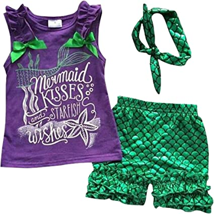 NEW Mermaid Wishes Girl Purple Tank Top Green Shimmer Shorts Headband Outfit Set