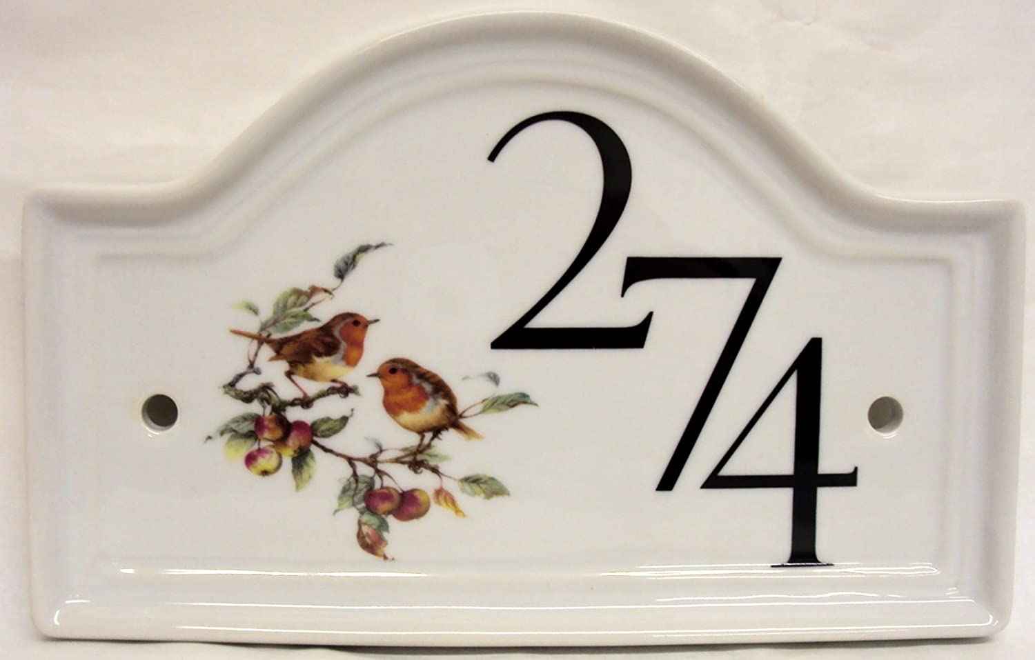 any number 1 to 99 hand-painted robin on white Bird motif house ...