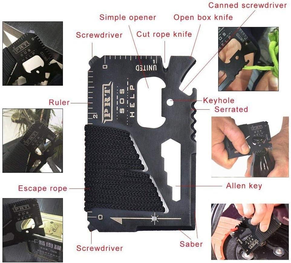 Kit de Survie 11 en 1 /équipement de Survie pour la randonn/ée en Camping Aventure Outils de Survie en Plein air avec Pince /à Lampe de Poche en Silex scie /à Fil