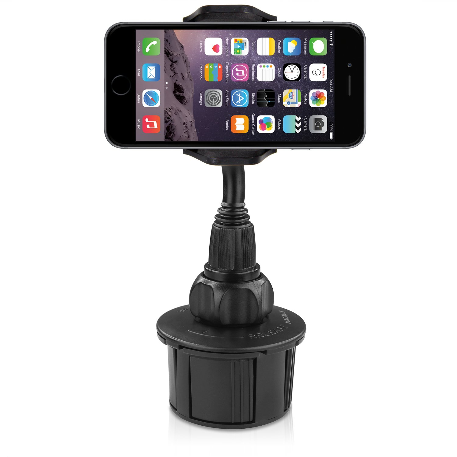 Macally Adjustable Automobile Cup Holder Phone Mount for iPhone X 8 8+ 7 7 Plus 6s Plus 6s SE Samsung Galaxy S9 S9+ S8 S7 Edge S6 S5 Note 5, iPod, Smartphones, MP3, GPS etc (MCUPMP) by Macally (Image #7)