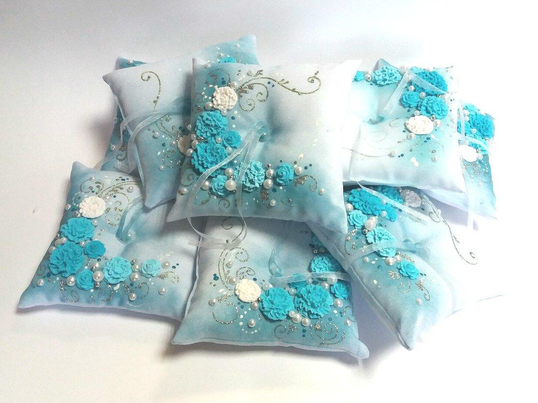 Magik Life Wedding Pillow Decorative Rings (Turquoise)