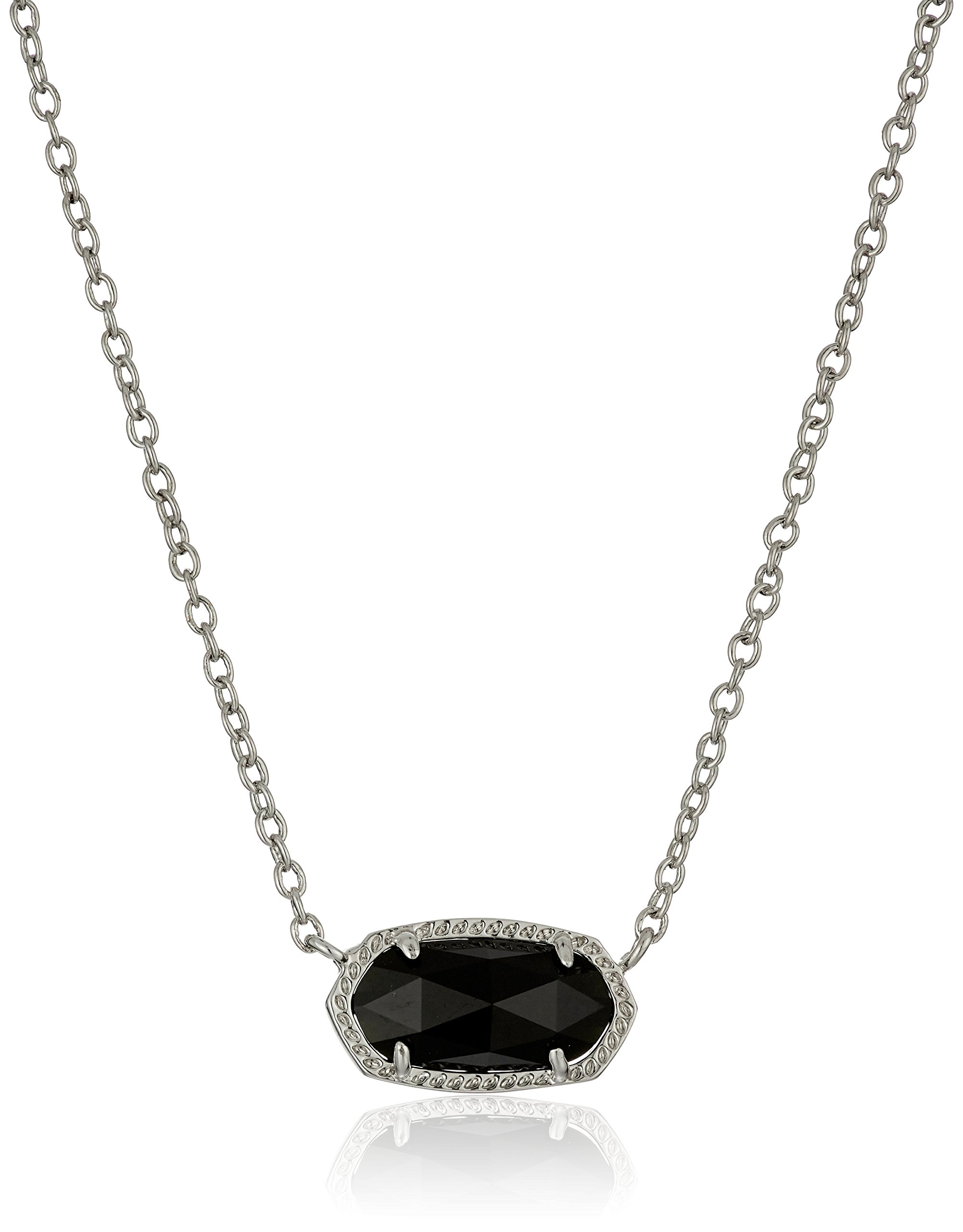 Kendra Scott ''Signature'' Elisa Rhodium plated Black Glass Pendant Necklace