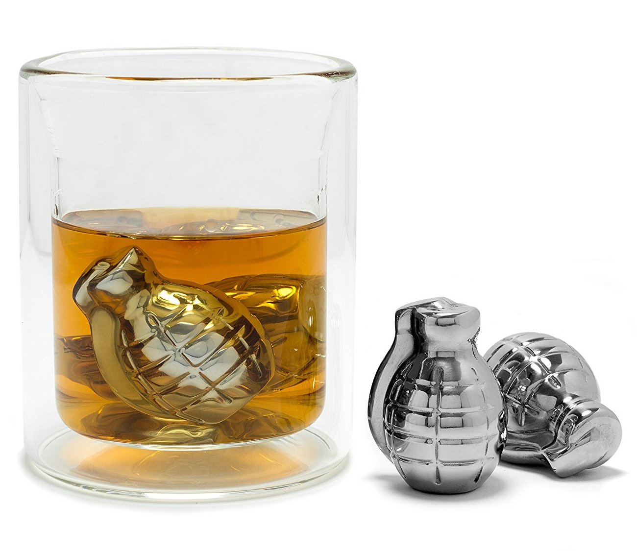 Whiskey Stones Grenade Shaped Stainless Steel with Storage Bag (Set of 4)