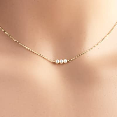 15-16 Inch Tiny Cultured Pearl Necklace, 14k Gold Filled