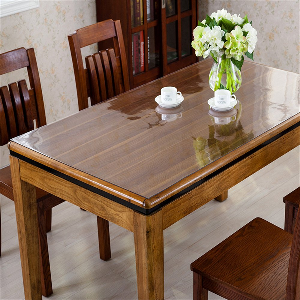 OstepDecor Custom 2mm Thick Crystal Clear Table Top Protector Plastic Tablecloth Kitchen Dining Room Wood Furniture Protective Cover | Rectangular 40 x 78 Inches by OstepDecor (Image #3)