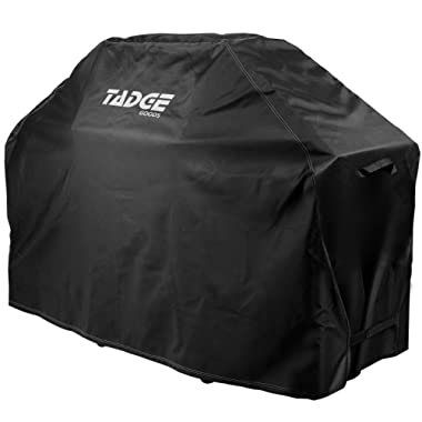 "Tadge Goods BBQ Grill Cover w/Handles (58"" Black) Waterproof, Heavy Duty 