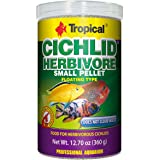 Tropical USA Cichlid Herbivore Small Pellet Fish Food Tin, 360g