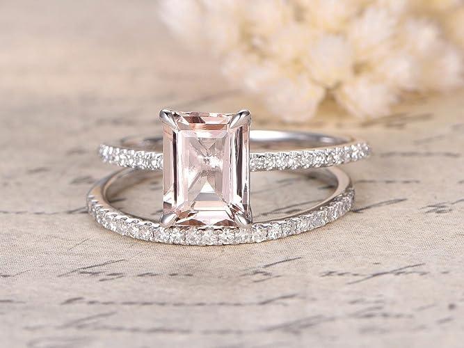 Emerald Cut Wedding Band | Amazon Com 1 50 Carat Emerald Cut Morganite And Diamond Wedding