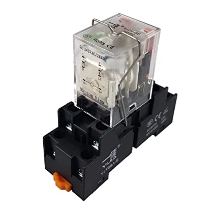 amazon com: api-ele [ 3 year warranty] electromagnetic power relay my2nj  hh52p coil 2pdt 2no+2nc 8 pins 5a with indicator light with base (12v dc):  home