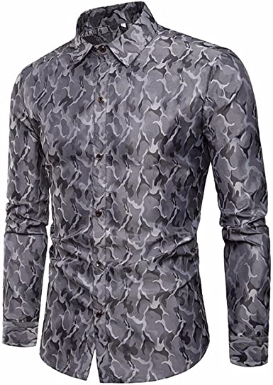 DAYLIN Hombre Camisa, Casual Slim Manga Larga Botones Camisas Tops Camuflaje Blusa: Amazon.es: Ropa y accesorios