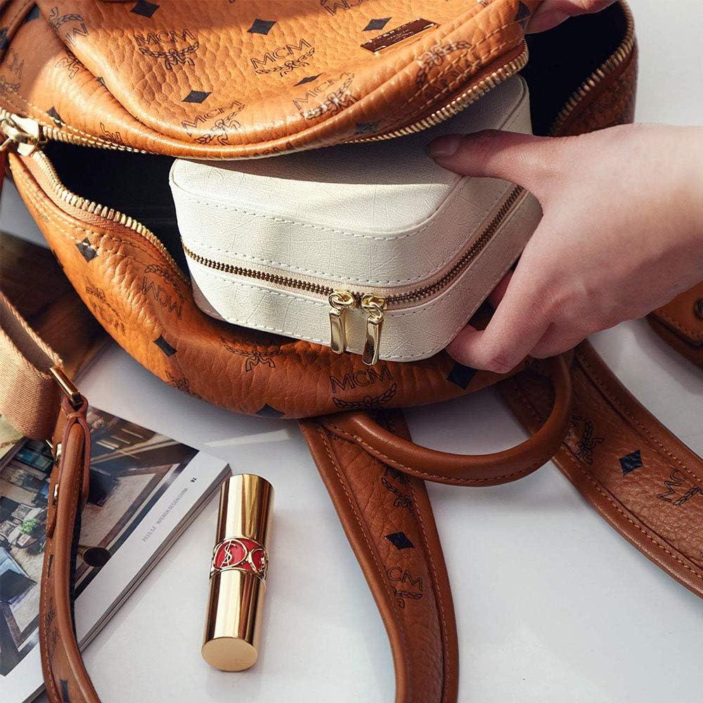 Petite Bo/îte /à Bijoux avec Miroir pour Voyage D/éplacement Mini Bo/îtes /à bijoux pour Femmes//Filles pour bagues Clou d/'Oreille Bo/îte /à Bijoux Voyage 10x10x 5.5cm Bracelets Boucles d/'Oreille