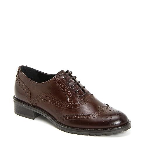 Marina Seval Scarpe&Scarpe - Zapatos con Cordones con Suela Militar, de Piel, con Tacones 3 cm - 36,0, Cuero
