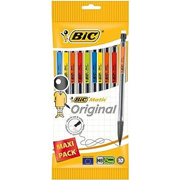 BIC Matic Original - Bolsa de 10 portaminas con minas HB de 0.7 mm, colores