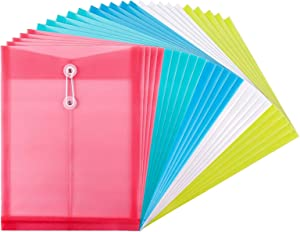 EOOUT 15pcs Poly String Envelope, Plastic Envelope with String Closure, for US Letter Size and A4 Size, 5 Colors