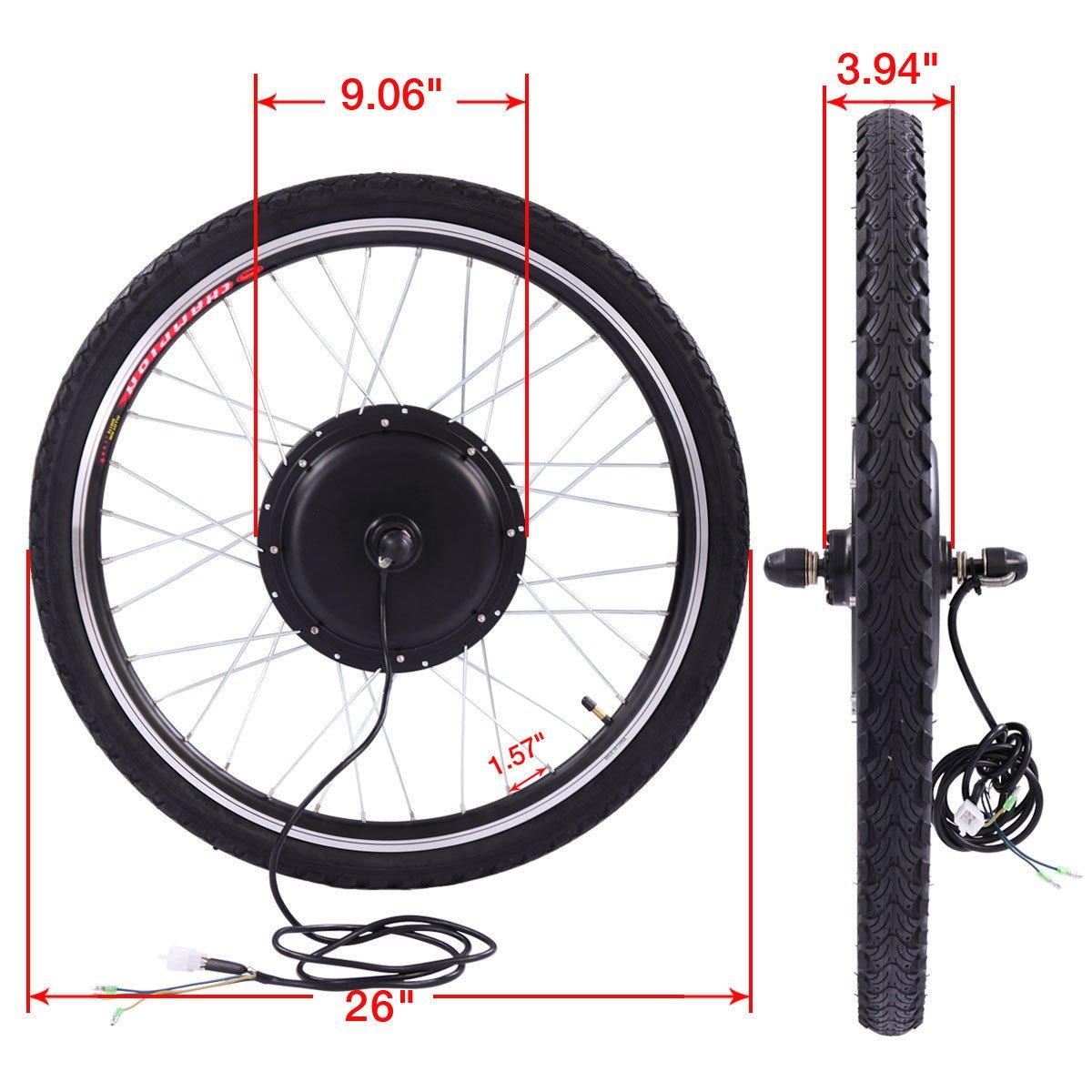 JAXPETY 36V 500W Electric Bicycle Cycle 26'' E Bike Front Wheel Ebike Hub Motor Conversion Kit Hub Motor Wheel by JAXPETY (Image #2)