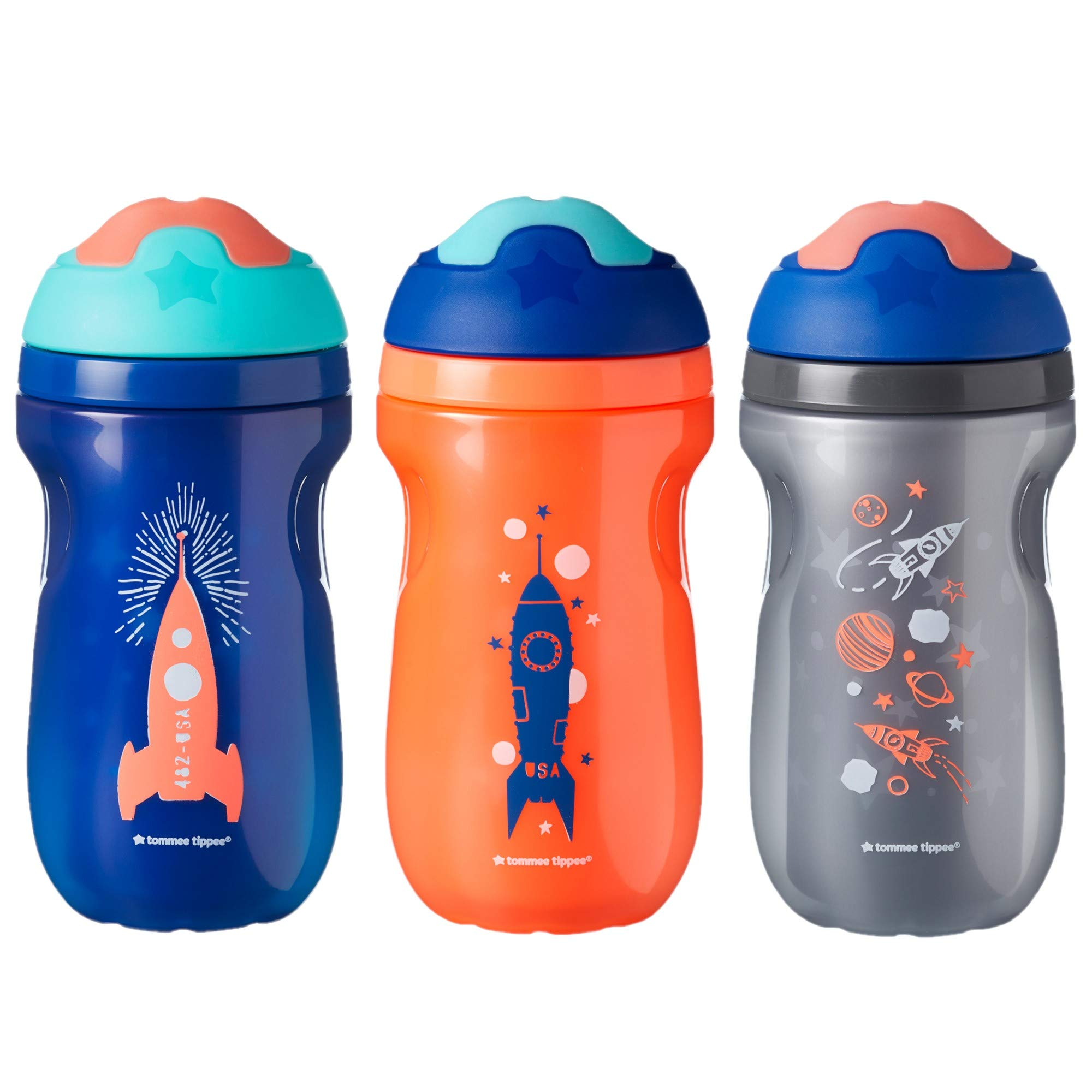Tommee Tippee Non-Spill Insulated Sippee Toddler Tumbler Cup, 12+ Months, 9 Ounce, 3 Count, Boy by Tommee Tippee