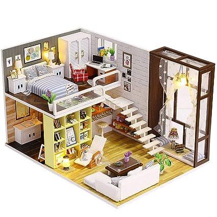 halonzhor DIY Cottage Mano de Madera en Miniatura – Casa de Muñecas Juego Puede Pintar –