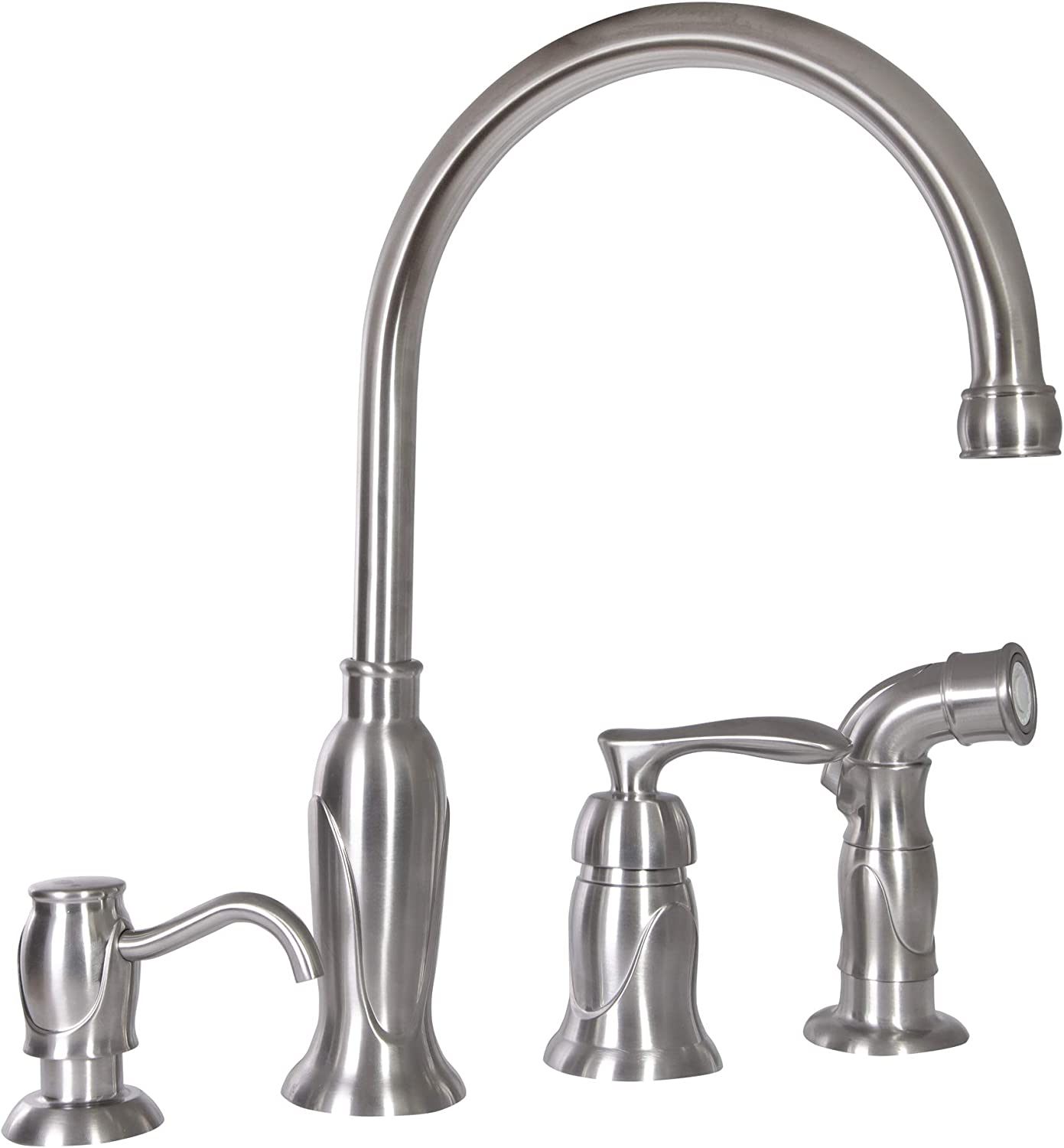 design house 525808 madison single handle kitchen faucet with side sprayer and soap dispenser satin nickel