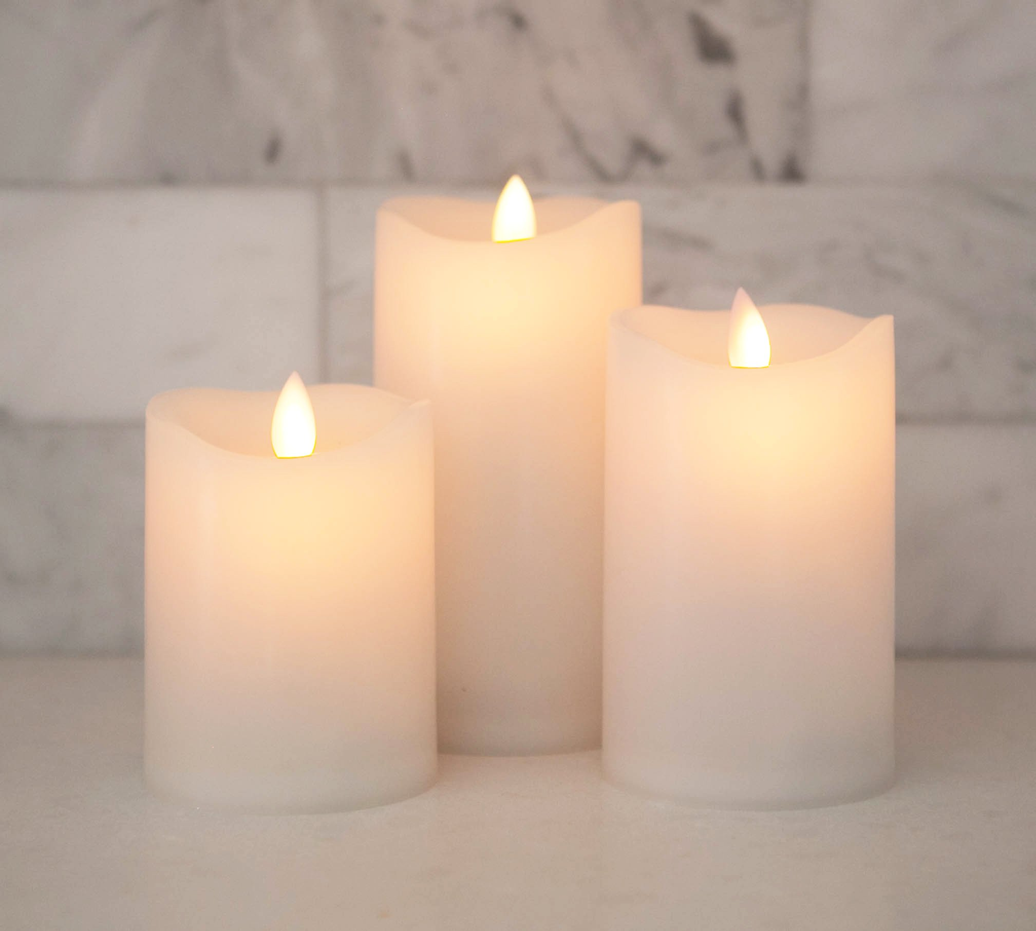 Flameless Candles Led Battery Operated - With Remote Control Timer Flickering Flame White Indoor Outdoor Large Pillar Candle Lights - Set Of 3 Unscented 4'' 5'' 6'' by Sandstone & Sage
