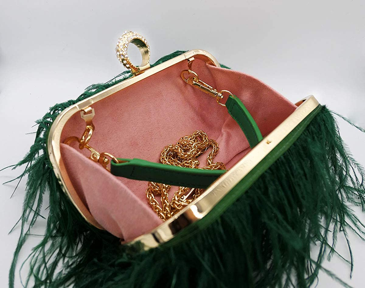 Komii Women Fluffy Ostrich Feather Evening Dress Clutch Bag Purse Shoulder Bag