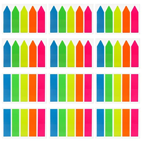 22 Sets SIQUK 3160 Pieces Colored Page Markers Sticky Index Tabs Neon Note Tabs Polka Dots and Stripes Page Flag Tabs Fluorescent Sticky Note