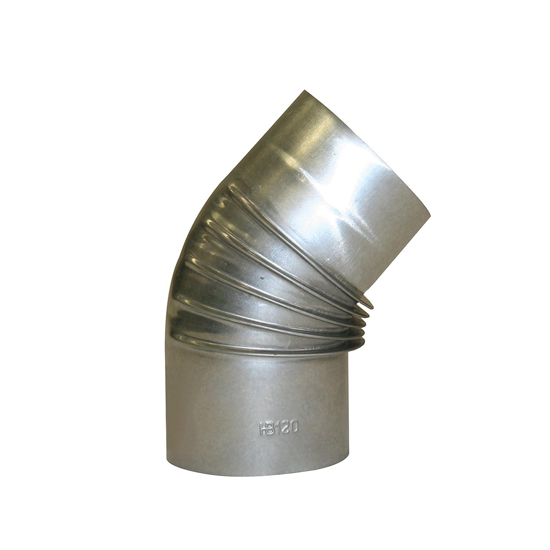Kamino - Flam – Codo para chimenea de leña (Ø 120 mm/45°C), Codo para estufa de leña, Codo vitrificado, Codo de escape – resistente a altas temperaturas – plata Kamino Flam 331179