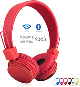 Amazon Com Kids Bluetooth Headphones Foldable Volume Limiting Wireless Wired Stereo On Ear Hd Headset With Sd Card Fm Radio In Line Volume Control Microphone For Children Adults Red Electronics