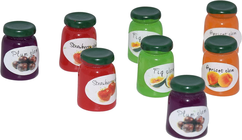 AMOBESTER Miniature Food Bottle Dollhouse Decoration Jam-jar for Kitchen 8 Psc
