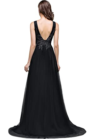fa1cf753253 MisShow Black Long Prom Dresses Homecoming Dresses with Lace Appliques