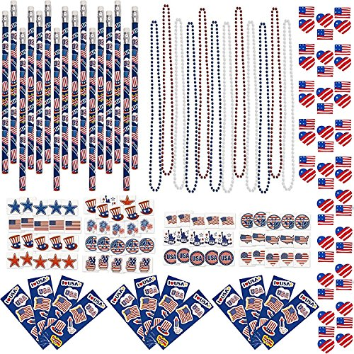 156 Piece Bulk Pack 4th of July Patriotic Toy Novelty Assortment 72 Glitter Temporary Tattoos 12 Red White And Blue Metallic Bead Necklaces 12 Pencils 12 Sticker Sheets 12 Erasers (4th Of July Party Favors)