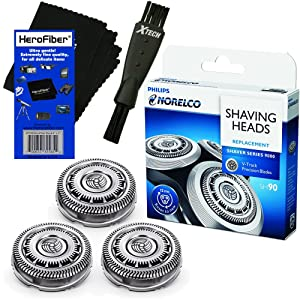 Philips Norelco SH90 Replacement Head for Series 8000; S8950 & Series 9000; S9311, S9321, S9511, S9531, S9721, SW6700 & SW9700 Electric Shavers + Shaver Brush + HeroFiber Gentle Cleaning Cloth