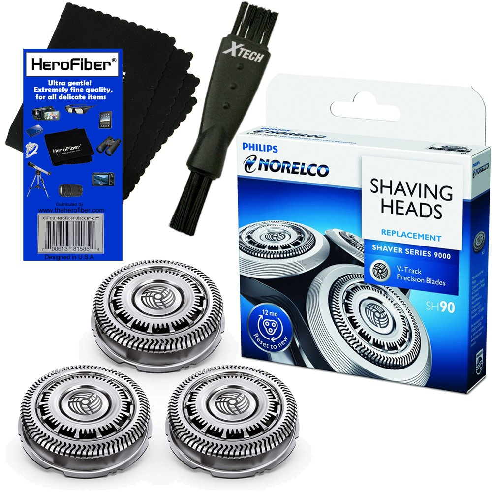 Philips Norelco SH90/62 Replacement Head for Series 8000; S8950 & Series 9000; S9311, S9321, S9511, S9531 & S9721 Electric Shavers + Double Ended Shaver Brush + HeroFiber Ultra Gentle Cleaning Cloth by HeroFiber
