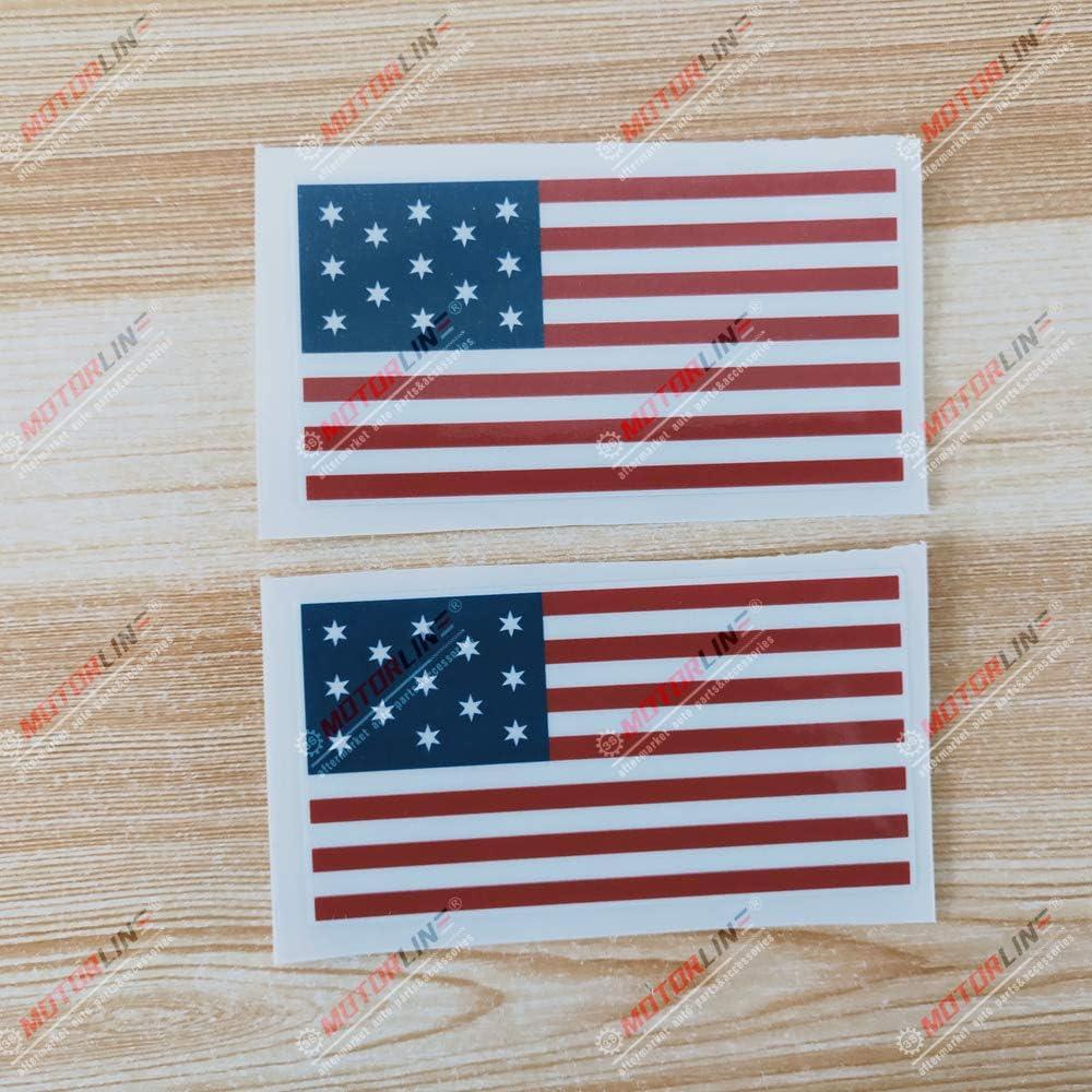 3S MOTORLINE 2X Glossy 4 Hopkinson Flag Decal Sticker US American Vinyl