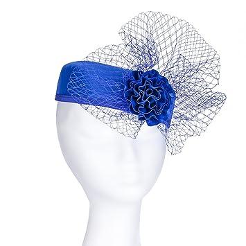 Royal blue pillbox fascinator with satin bow net on headband Hairband Fascinator