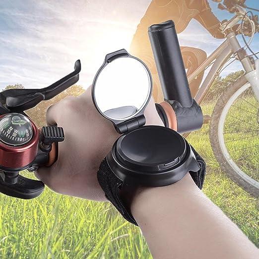 AOLVO Espejo de muñeca para bicicleta, 360 ° de rotación, ajustable para bicicleta, correa de muñeca,