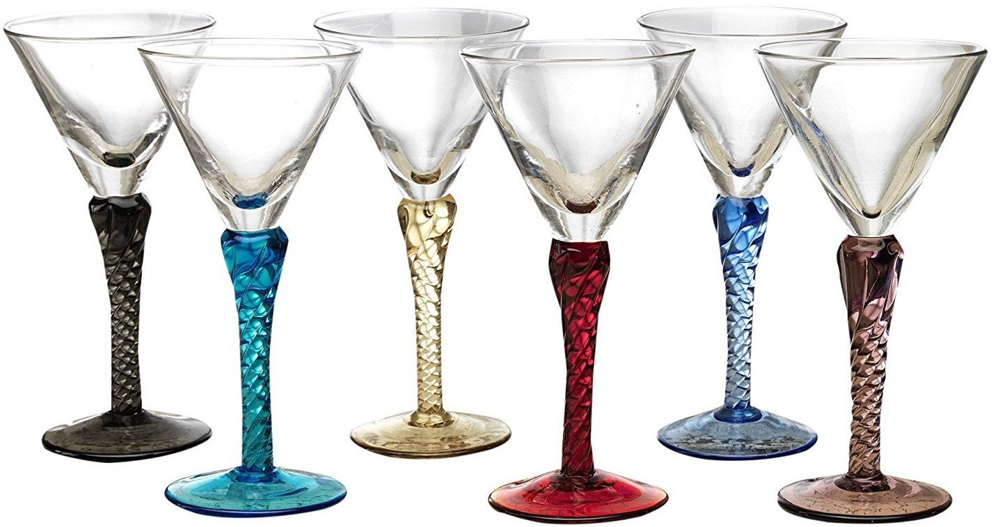 Circleware Gem Multi Colored Cordial Glasses with Clear Stems, Set of 6, 1.5 ounce 51161