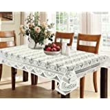 Kuber Industries Circle Design Cotton 6 Seater Dining Table Cover - Cream - CTKTC022310