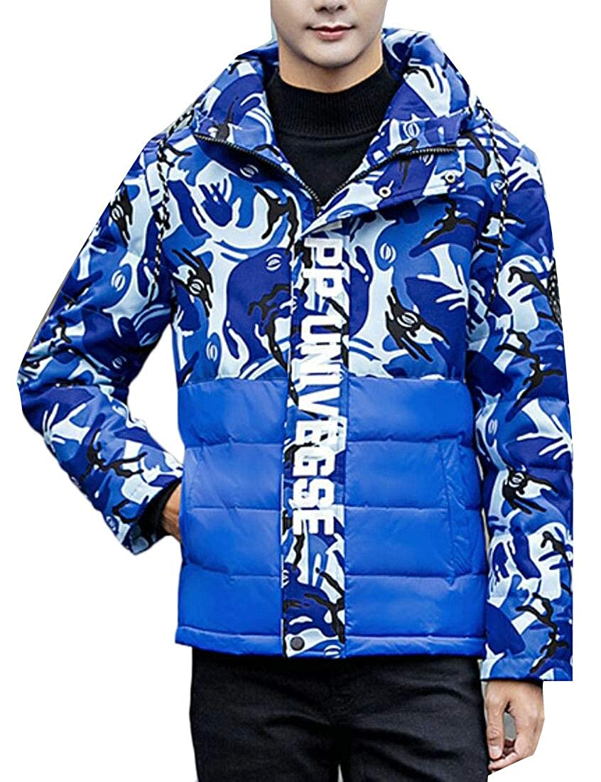 Yayu Mens Hipster Camouflage Quilted Hoodies Front-Zip Slim Fit Down Jacket Coat