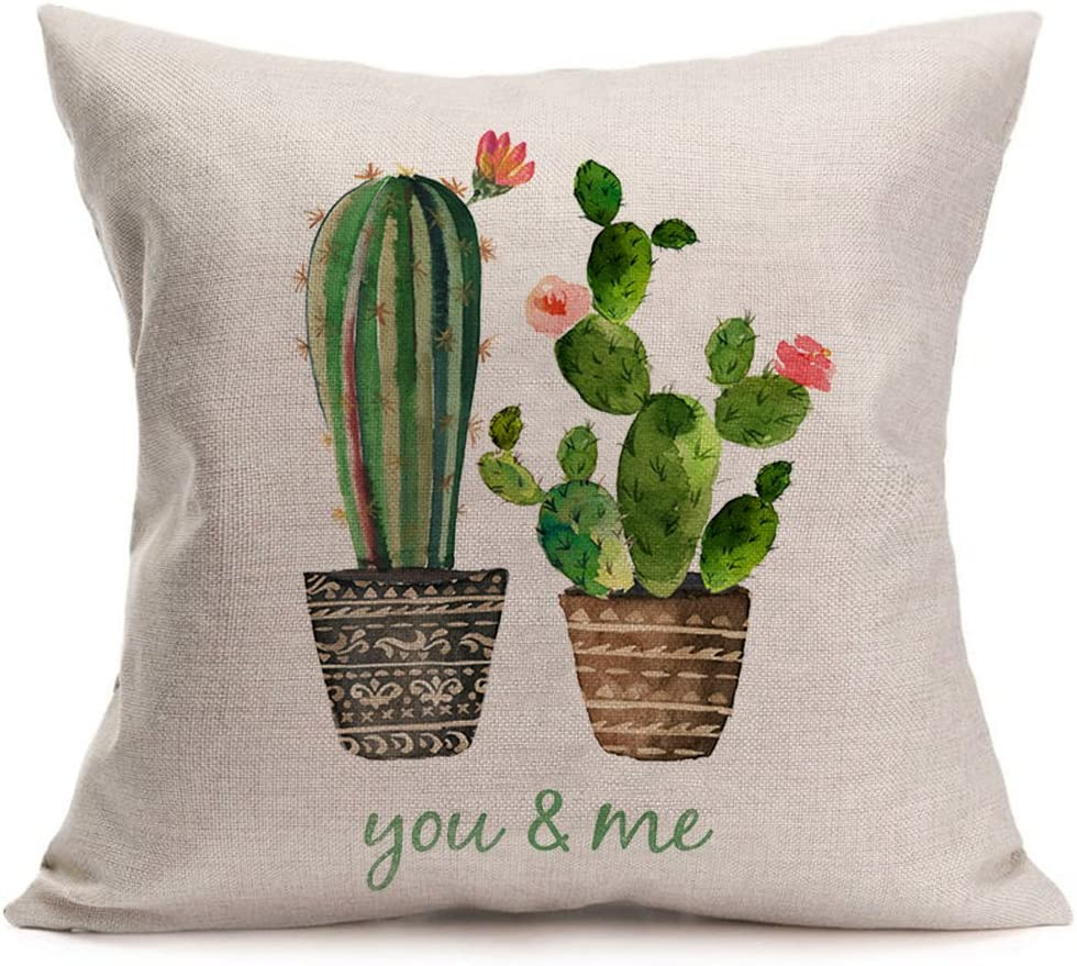 Smilyard Succulents Cactus Pillow Covers Cotton Linen Words Decorative Throw Pillow Case Cushion Cover 18X18 Inches (You & Me)