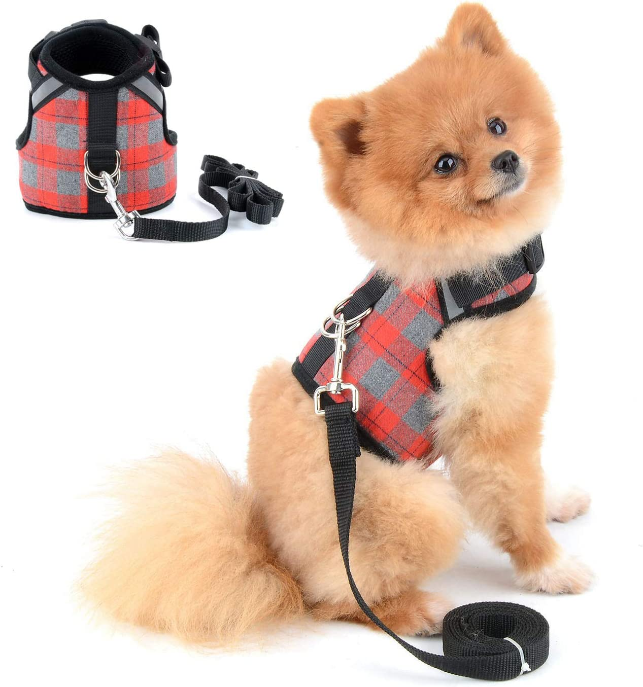 SELMAI Escape Proof Cat Harness and Leash for Walking Plaid Pattern Mesh Vest Harness with Leash for Small Dogs Training Leads No Pull for Puppy Chihuahua Dachshund Hiking Jogging Outdoor