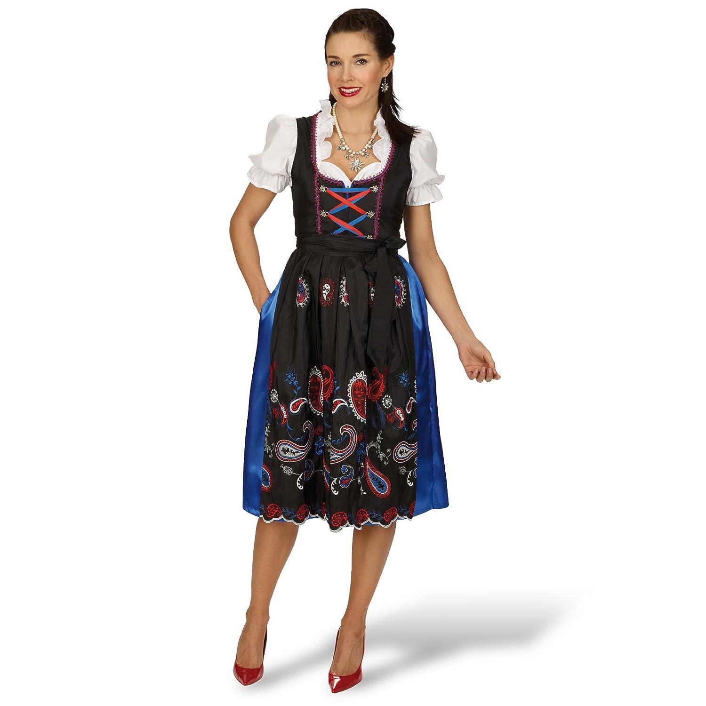 Dirndl Annelie Trachten Kleid Exklusiv 3 tlg Dirndl Bluse Schürze mit Stickerei