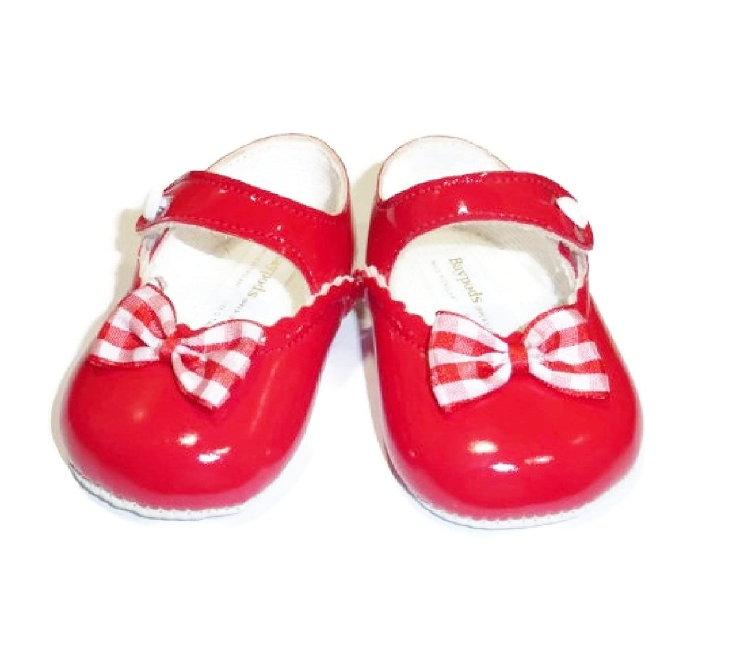4.5 Red Patent Shoes with Gingham Bow 9-12 Months