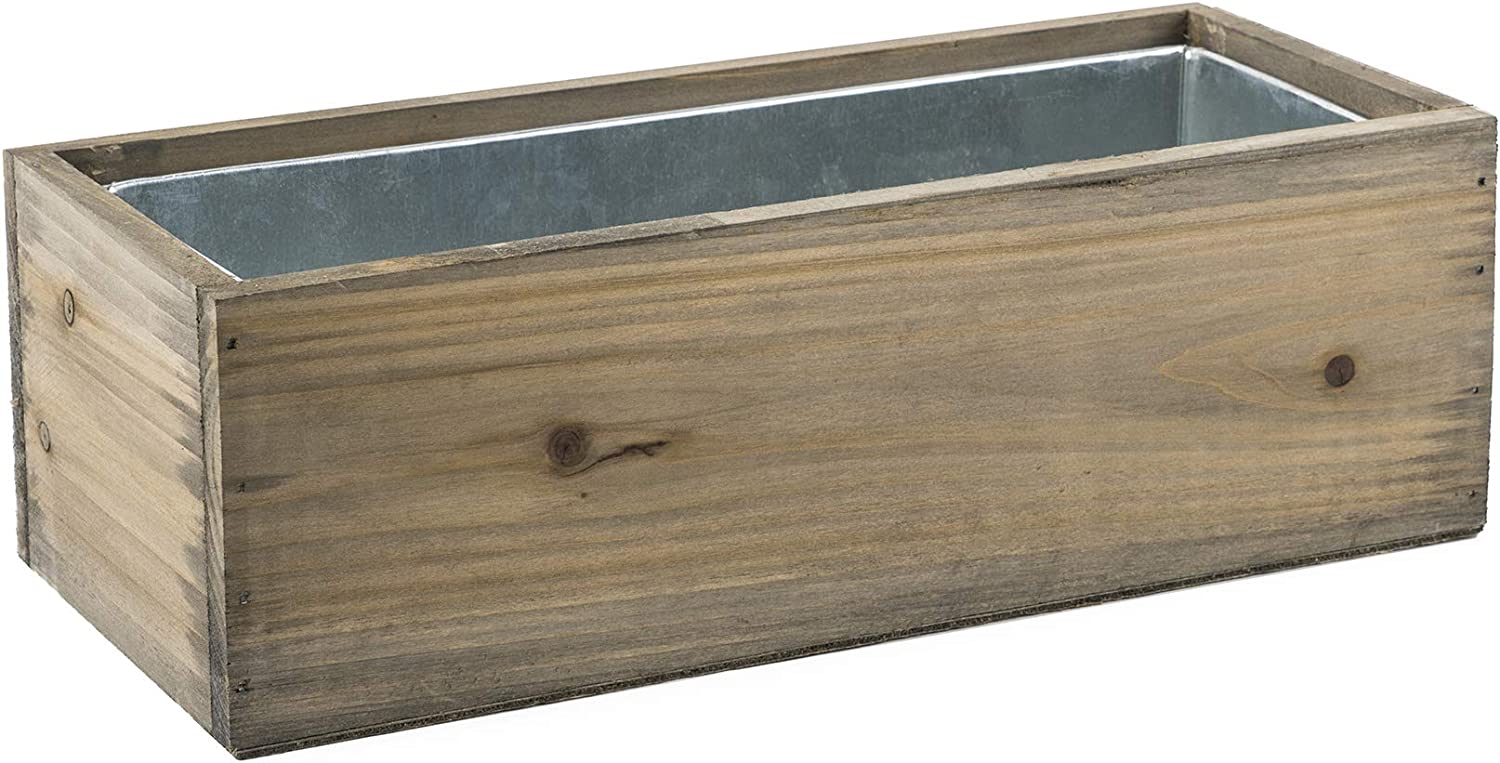 """CYS EXCEL Rectangular Decorative Planter Box with Removable Zinc Metal Liner (H:5"""" Open:12""""x4"""")   Multiple Size Choices Wooden Rectangular Planter   Indoor Decorative Window Flower Box"""