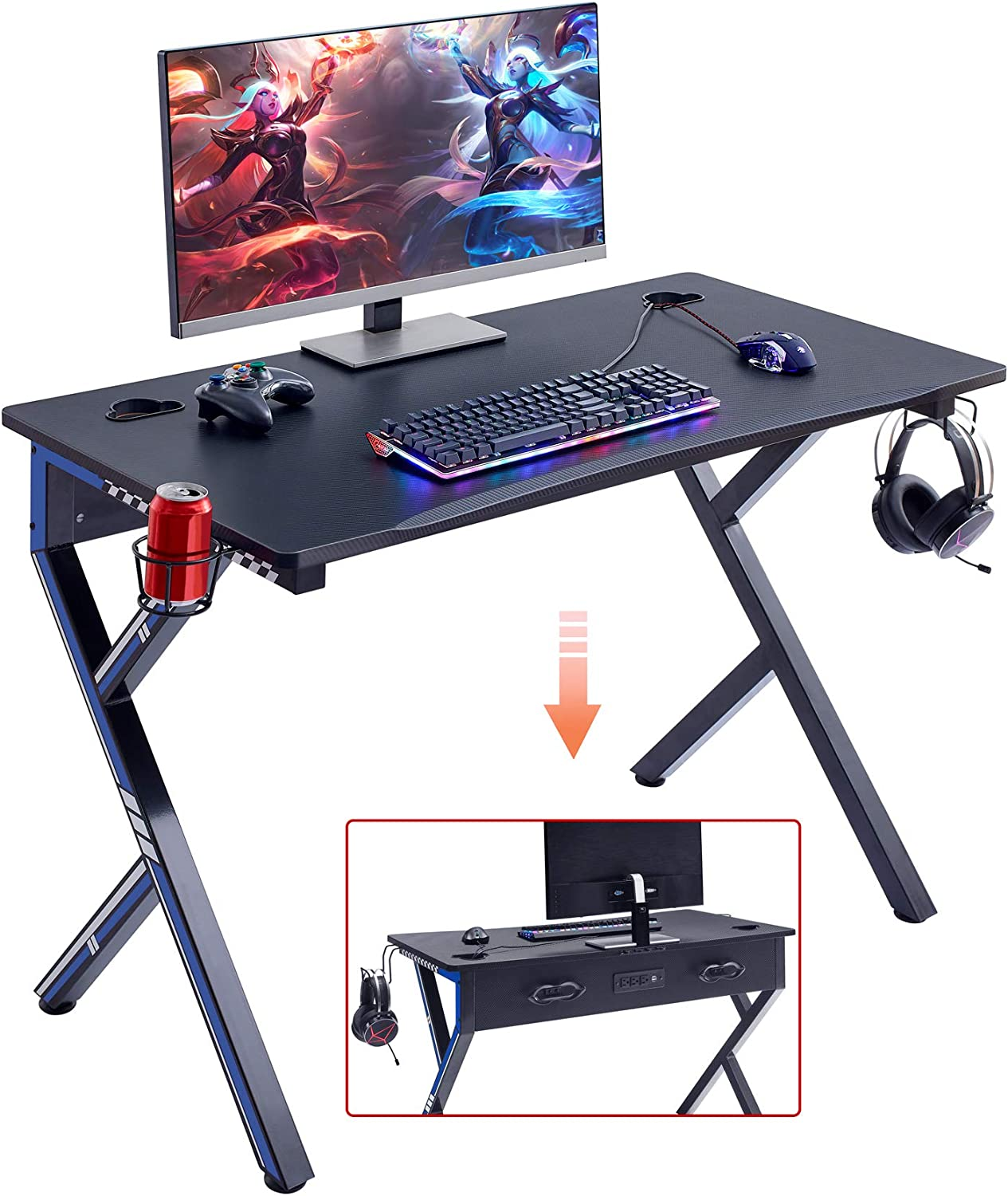 """Mr IRONSTONE Gaming Desk 45.2"""" W x 23.6"""" D Home Office Desk, Gaming Workstation with Power Strip of 3-Outlet & 2 USB Ports, Cup Holder, Headphone Hook, and Cable Management (Blue)"""