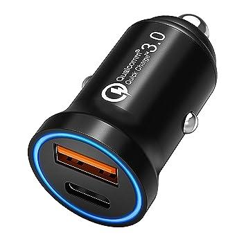 CHGeek Mini Cargador de Coche con Power Delivery y Quick Charge 3.0, 36W USB-C y QC 3.0 USB Duales Puertos para iPhone X 8 Plus, Samsung Galaxy Note8 ...