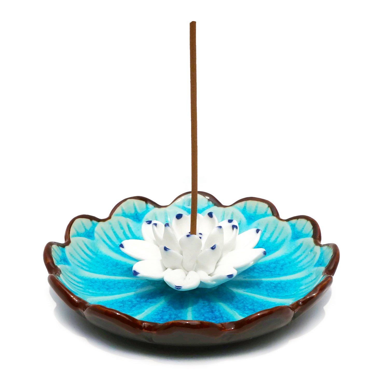 Incense Holder - Porcelain Decorative Flower Incense Stick Holder Burner Bowl - Ceramic Incense Ash Catcher Tray (Light Blue)