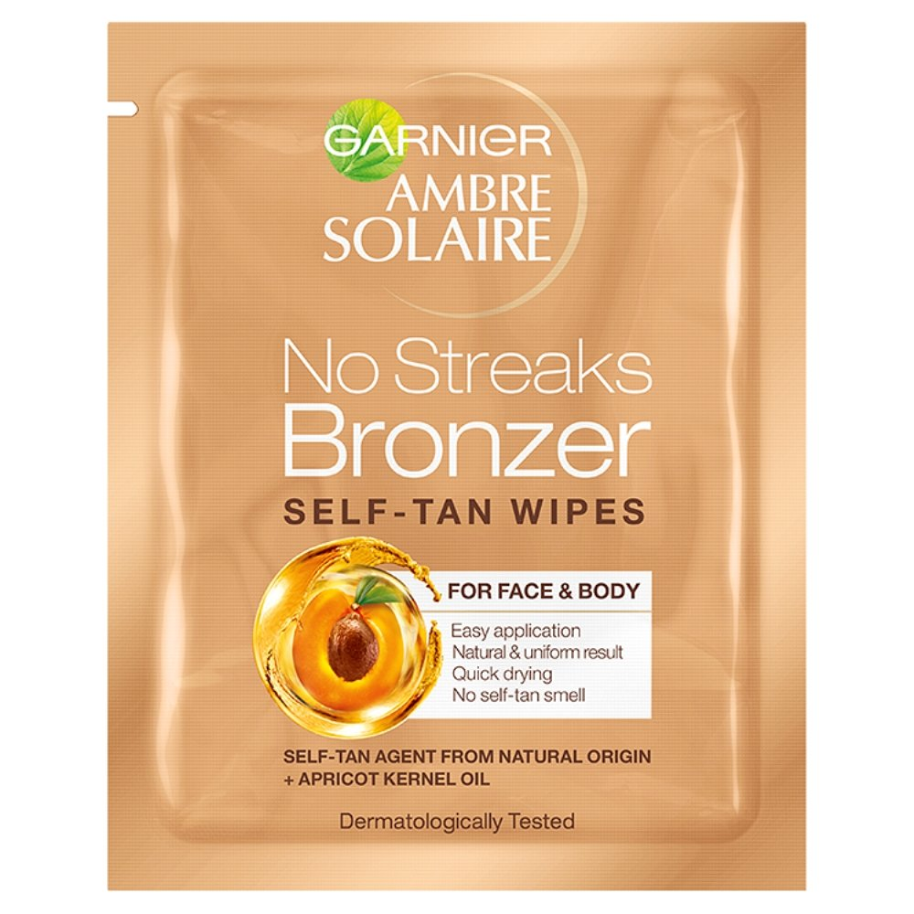 Garnier Ambre Solaire Original Natural Bronzer Self-Tan Face Wipes - Pack of 6